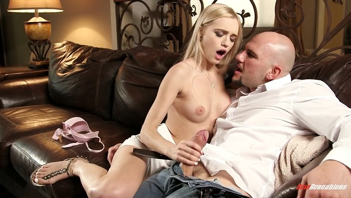 Lucky bald guy with big dick fucks tiny blonde