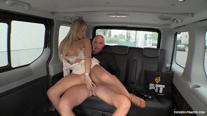 Gorgeous blonde fucked in the car