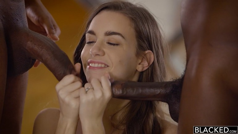 Hairy Teen Takes on Two Black Dicks. HD