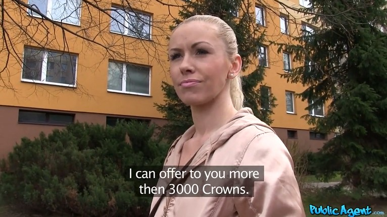 Czech public sex for money with a mature blonde