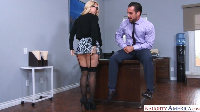 Mature Office Blonde in Stockings Riding and Sucking