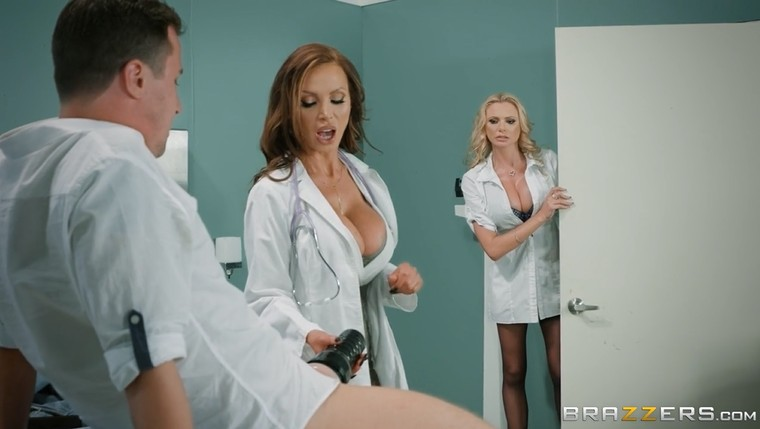 Two mature busty nurses share cock at the hospital