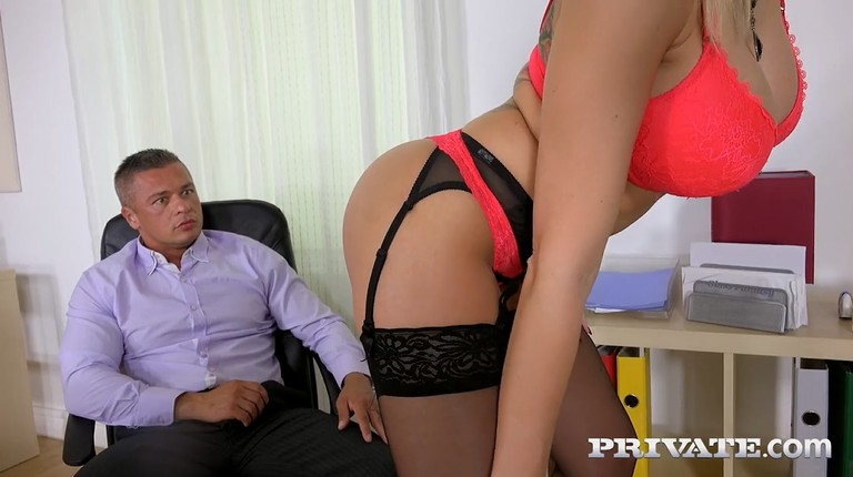 Perfect secretary jerks the cock of her boss