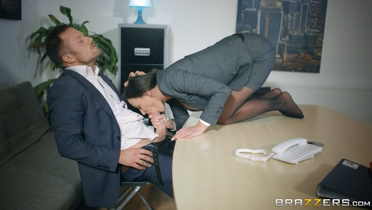 Busty Boss Sucks Cock In Office