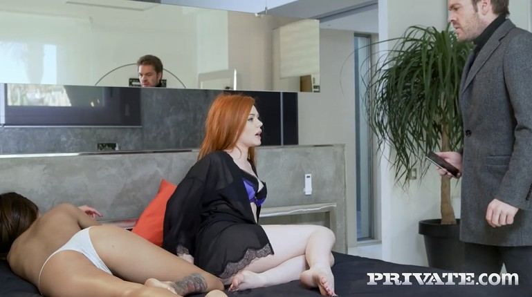 Husband caught his redhead wife with a lesbian