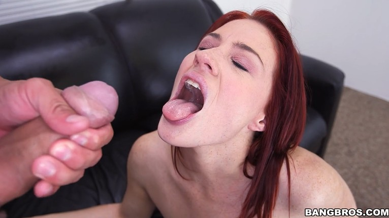 Milf with big mouth on porn casting
