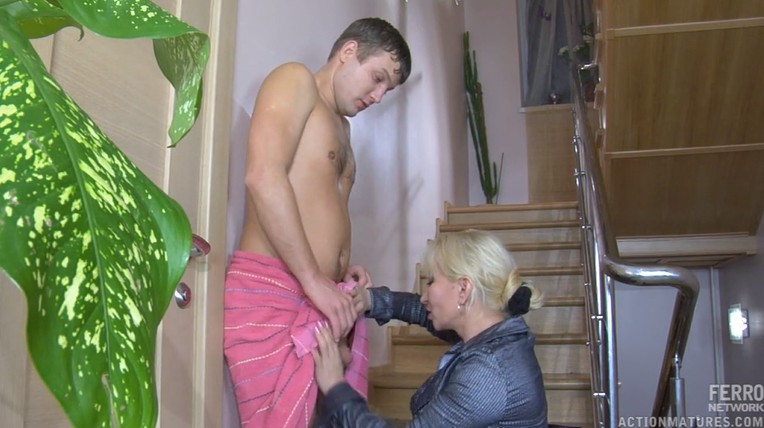 Amazing russian neighbor swallow cum
