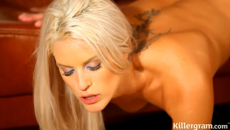 Leggy blonde Blanche Bradburry is fucked by well endowed guy