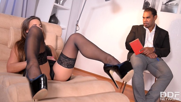 Sexy bitch in stockings fucked ass and plays with black cum