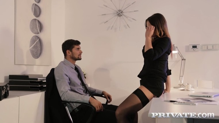 Secretary in mini skirt Seduces Her Boss